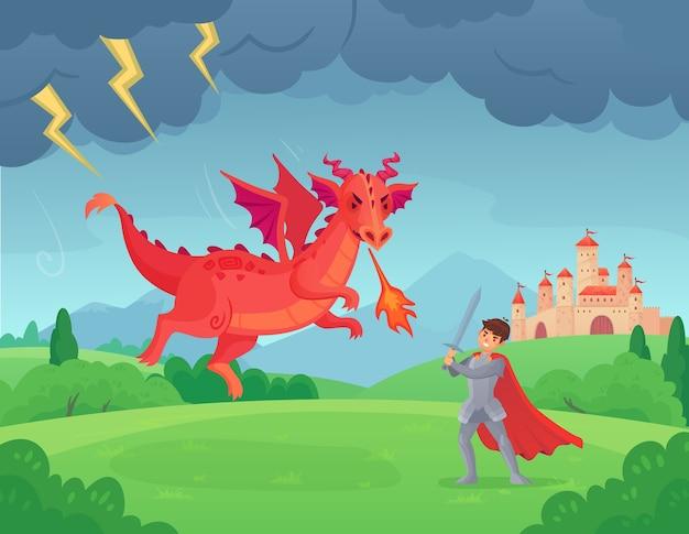 Cartoon sprookjesachtige ridder vecht tegen draak.