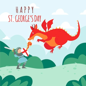 Cartoon st. george's day illustratie met draak en ridder vechten