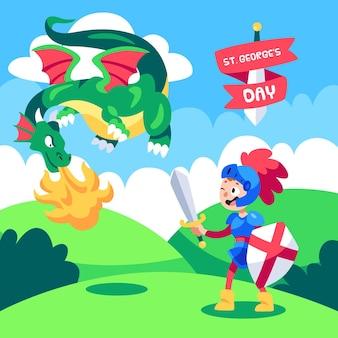 Cartoon st. george's day illustratie met draak en ridder Gratis Vector