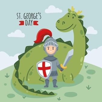 Cartoon st. george's day illustratie met draak en ridder