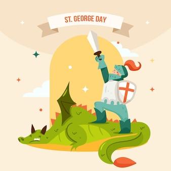 Cartoon st. george's day illustratie met draak verslagen door ridder