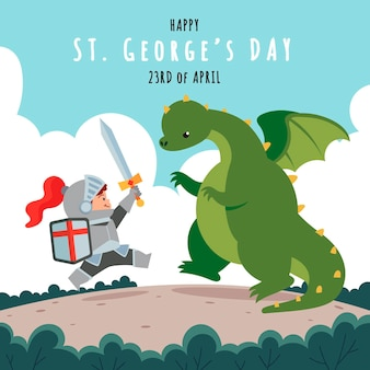 Cartoon st. george's day illustratie met ridder en draak