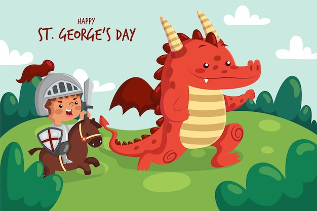 Cartoon st. george's day illustratie met ridder en draak