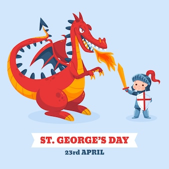 Cartoon st. george's day illustratie