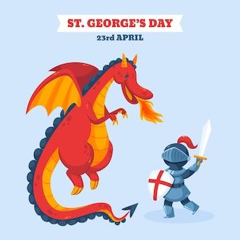 Cartoon st. george's day illustratie