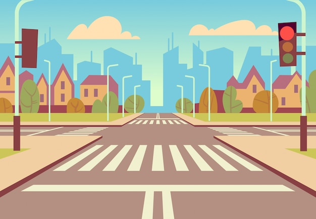 Cartoon stad kruispunt met verkeerslichten, trottoir, zebrapad en stedelijk landschap. lege wegen voor autoverkeer vectorillustratie