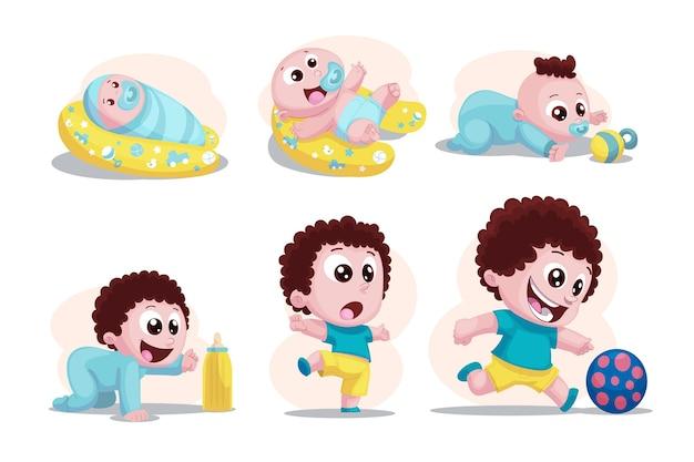Cartoon stadia van een babyjongen Premium Vector