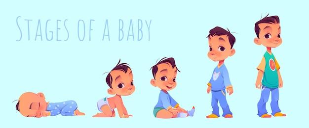 Cartoon stadia van een babyjongen