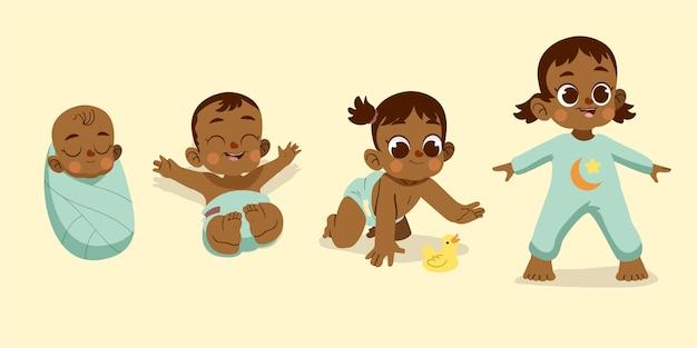 Cartoon stadia van een babymeisje