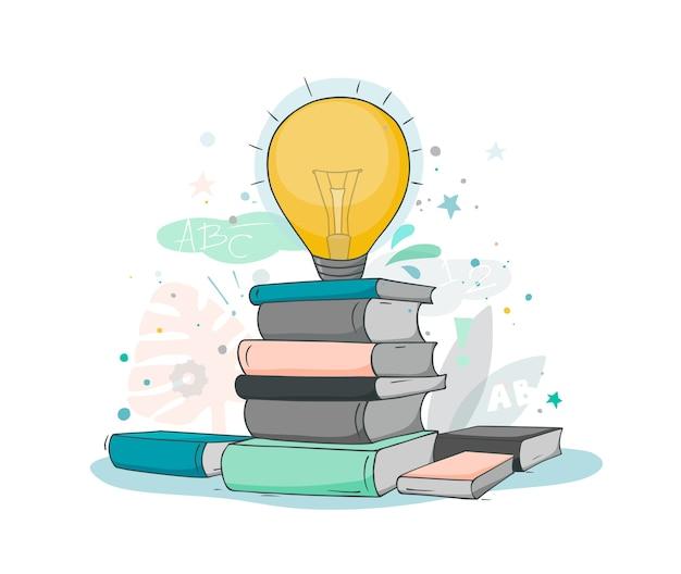 Cartoon stapel boeken met lamp idee. doodle schattige miniatuurscène over literatuur en creativiteit. hand getrokken illustratie voor onderwijsontwerp.