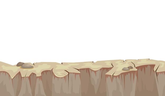 Cartoon steenachtig grondlandschap voor illustratie van de gebruikersinterface van het spel