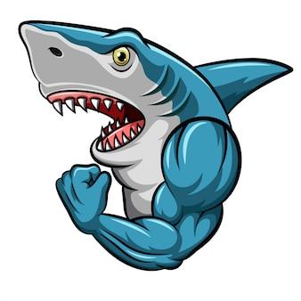 Cartoon sterke haai mascotte ontwerp