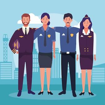 Cartoon stewardess en piloot met politie man en vrouw
