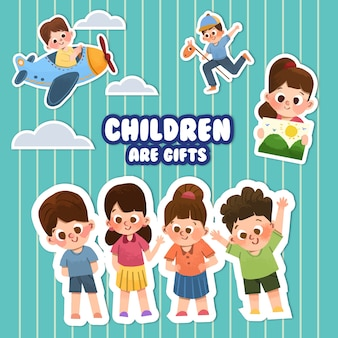 Cartoon sticker met kinderdag conceptontwerp