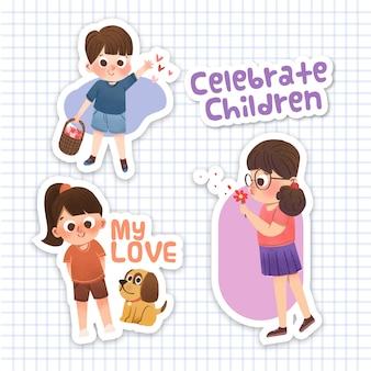 Cartoon sticker met kinderdag conceptontwerp