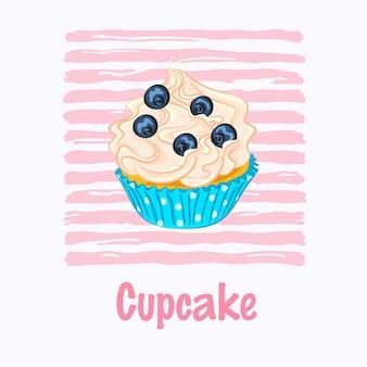 Cartoon stijl cupcake met slagroom en bosbessen in het blauwe papier houder vector pictogram op de roze gestreepte achtergrond