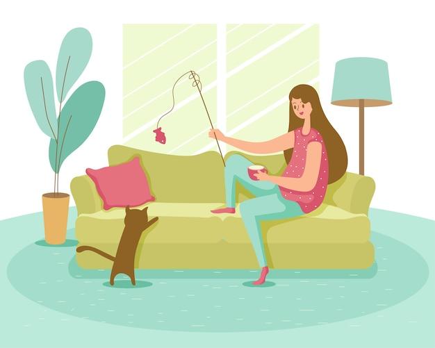 Cartoon stijl gelukkige jonge vrouw doet regelmatige activiteit in zijhuis om gezond te blijven