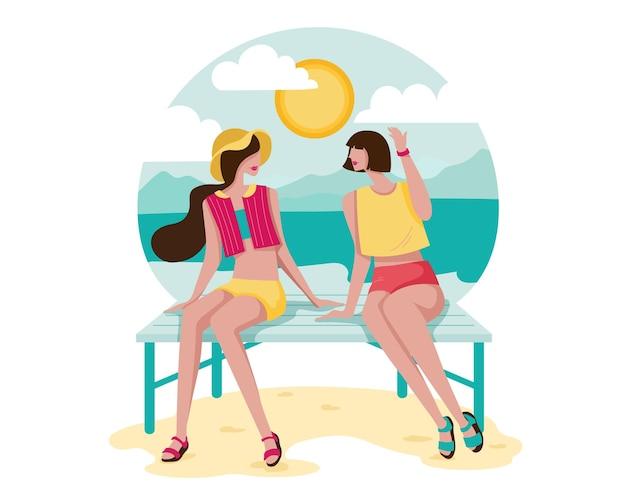 Cartoon stijl gelukkige jonge vrouw zitten en roddelen op strand