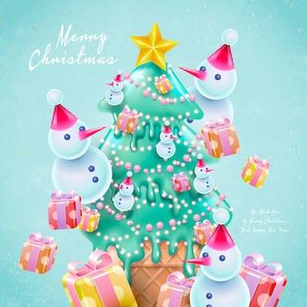 Cartoon stijl kerstkaart met kerstboomvormig ijs