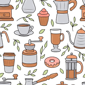 Cartoon stijl koffie patroon illustratie