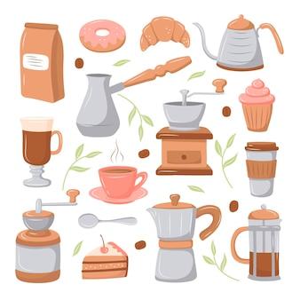Cartoon stijl koffie set