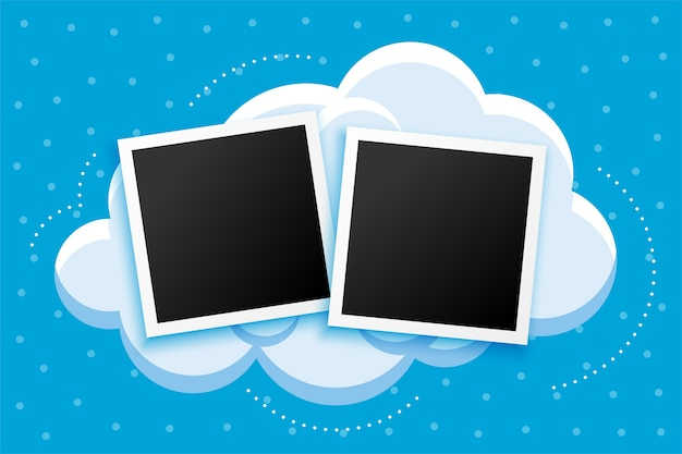 Cartoon stijl photoframes en wolken achtergrondontwerp