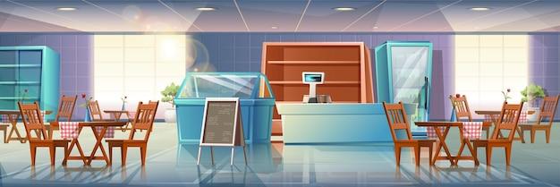 Cartoon stijl platte illustratie van restaurant interieur met vitrines, kassier en eettafels met menustandaard en grote ramen met zonlicht dat doorkomt.