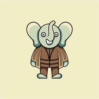 Cartoon stijl schattige olifant meester illustratie