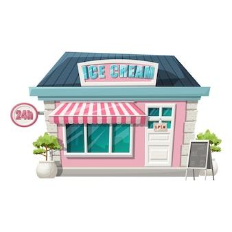 Cartoon stijl van ijs café vooraanzicht winkel.