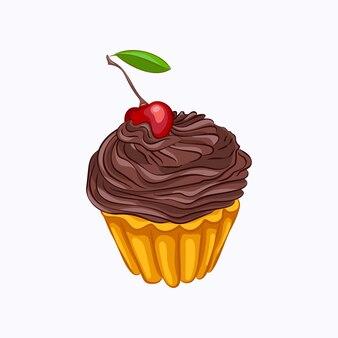 Cartoon stijl vanille cupcake met chocolade crème en kersen vector pictogram geïsoleerd op de witte achtergrond
