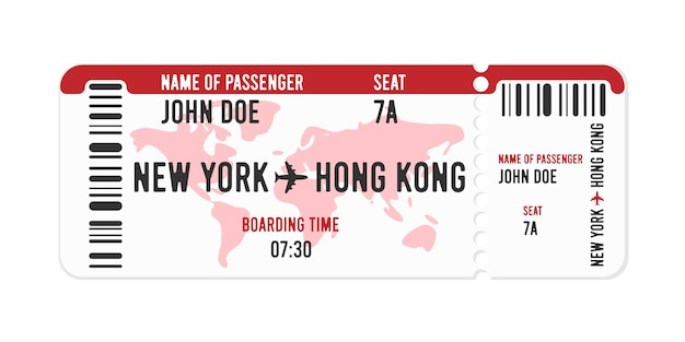 Cartoon stijl vliegticketontwerp met passagiersnaam.