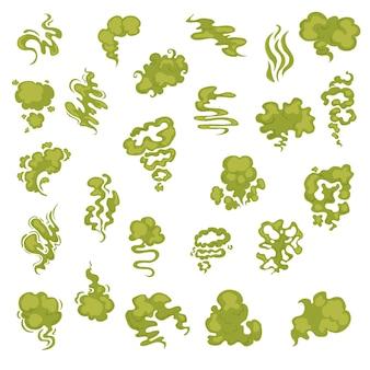 Cartoon stinkende geurbellen, waterdamp en stankaromastromen ingesteld. aroma rook stroom, geur giftige groene illustratie op witte achtergrond