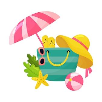 Cartoon strandtas met accessoires, zonnebril, slippers, hoed, paraplu en bal.