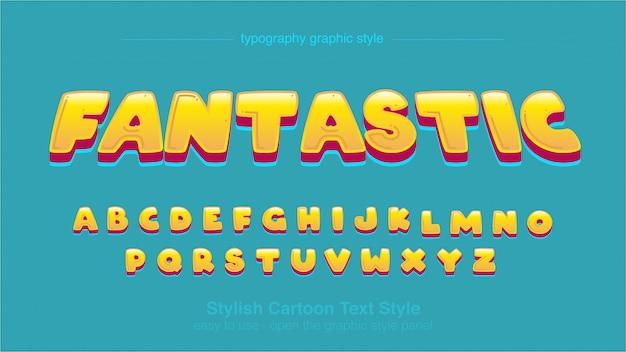Cartoon strips geel afgeronde artistieke lettertype ontwerp