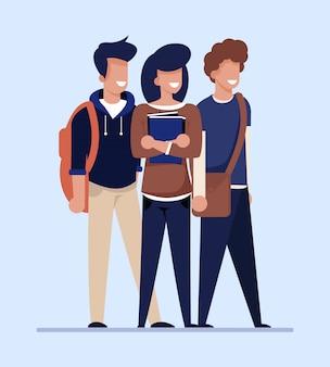 Cartoon studenten op zoek naar goedkope flat te huur