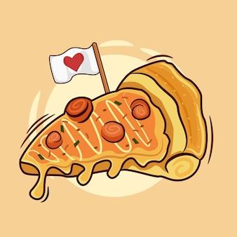 Cartoon stuk pizza met een liefdesvlag