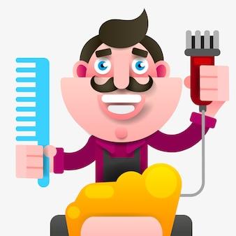 Cartoon succesvolle kapper in een schort met een schaar in de hand