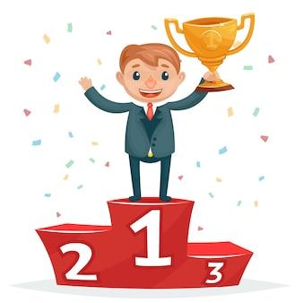 Cartoon succesvolle lachende zakenman met gouden onderscheiding op het podium van de winnaars.