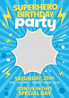 Cartoon superheld verjaardagsuitnodiging sjabloon met foto