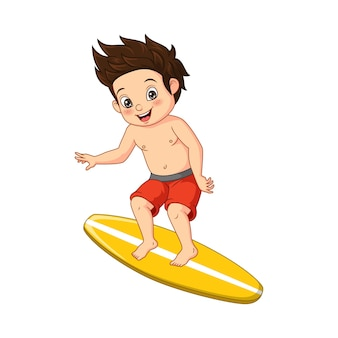 Cartoon surfer jongen rijden surfplank