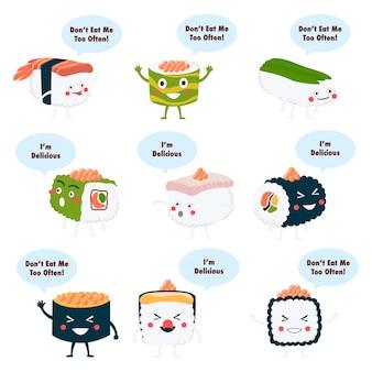 Cartoon sushi karakter ontwerp
