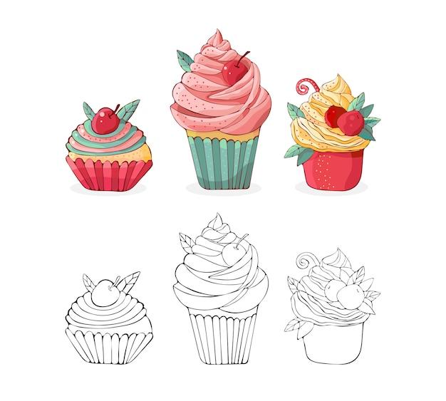 Cartoon taarten in vector instellen. hand getekend dessert in vintage stijl. cap cake met room en kersen. zoet voedsel dat op witte achtergrond wordt geïsoleerd. illustratie van zwarte lijntekeningen en gekleurde versie. tekening