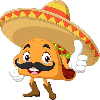 Cartoon taco mascotte duim opgevend