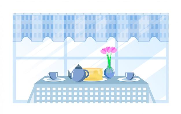 Cartoon tafel geserveerd voor het ontbijt