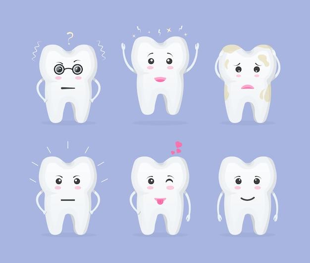 Cartoon tand. leuke tanden met verschillende emoties. geanimeerde cartoon tanden van karakters.