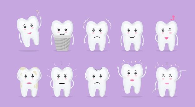 Cartoon tand. leuke tanden met verschillende emoties voor labelontwerp. glimlachend en boos tekenfilm tanden van karakters. mondzorg en tandheelkunde concept. vlakke stijl geïsoleerd