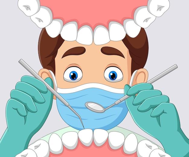 Cartoon tandarts selectievakje tand in open mond van patiënt