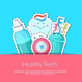 Cartoon tanden hygiëne stickers in de zak