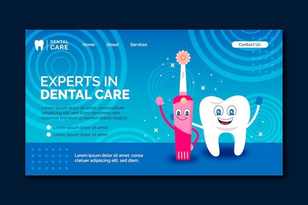 Cartoon tandheelkundige zorg bestemmingspagina