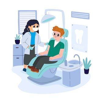Cartoon tandheelkundige zorg concept illustratie